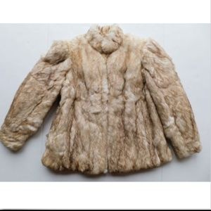 Fox Print Rabbit Fur Coat - Sand/ Beige - M